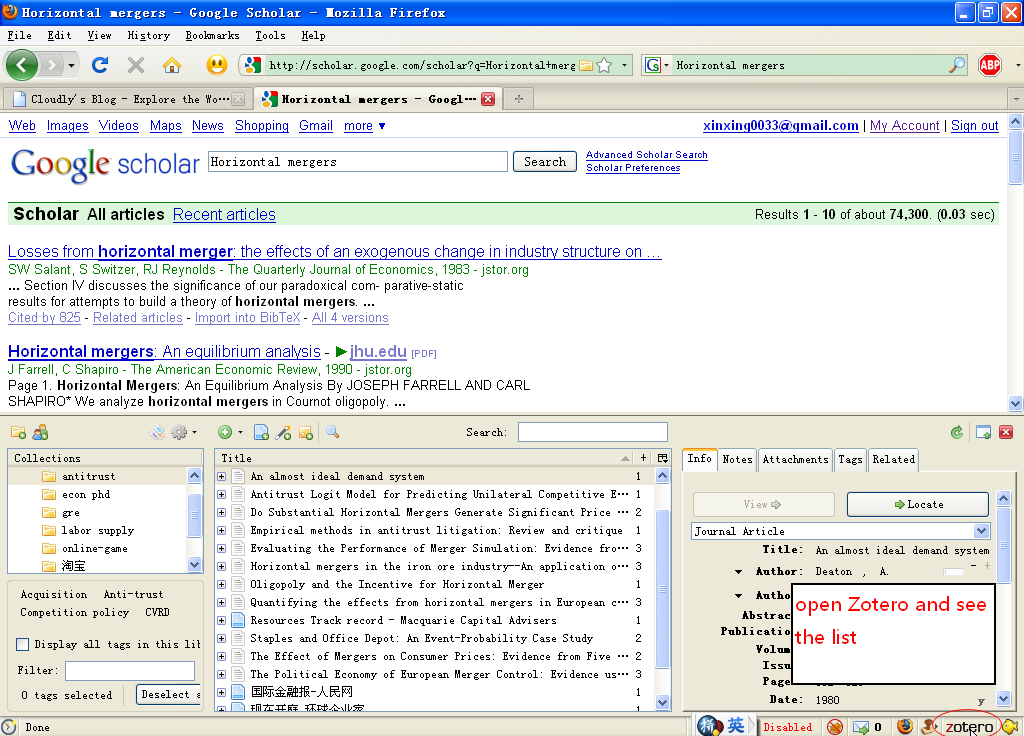 open zotero (click the icon on the bottom bar)