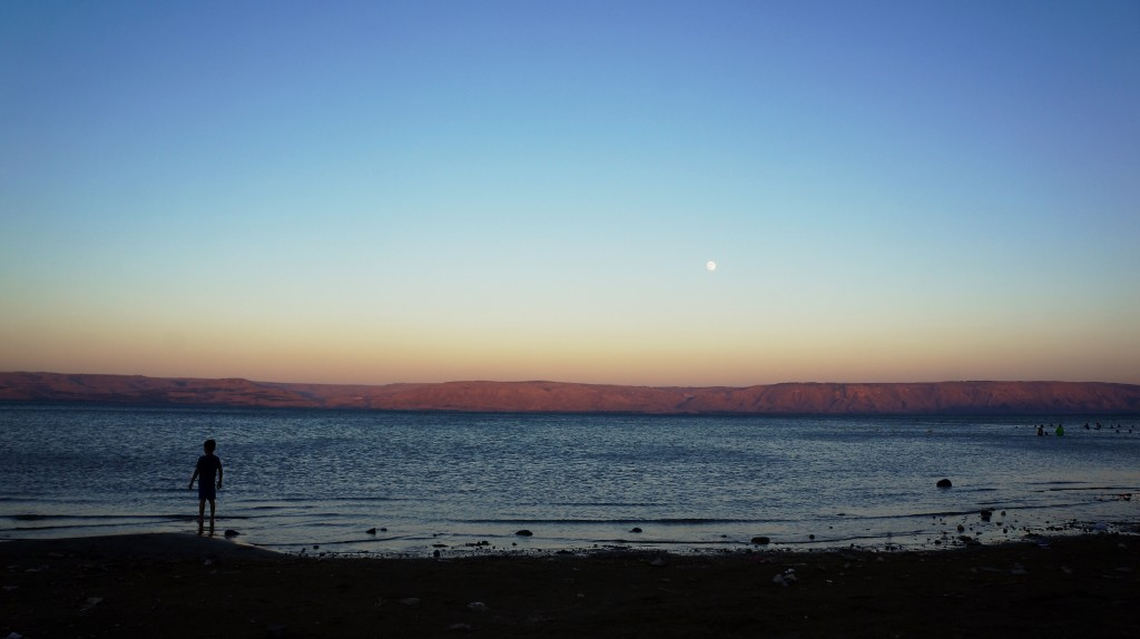 Moon rise at the Galilee Sea